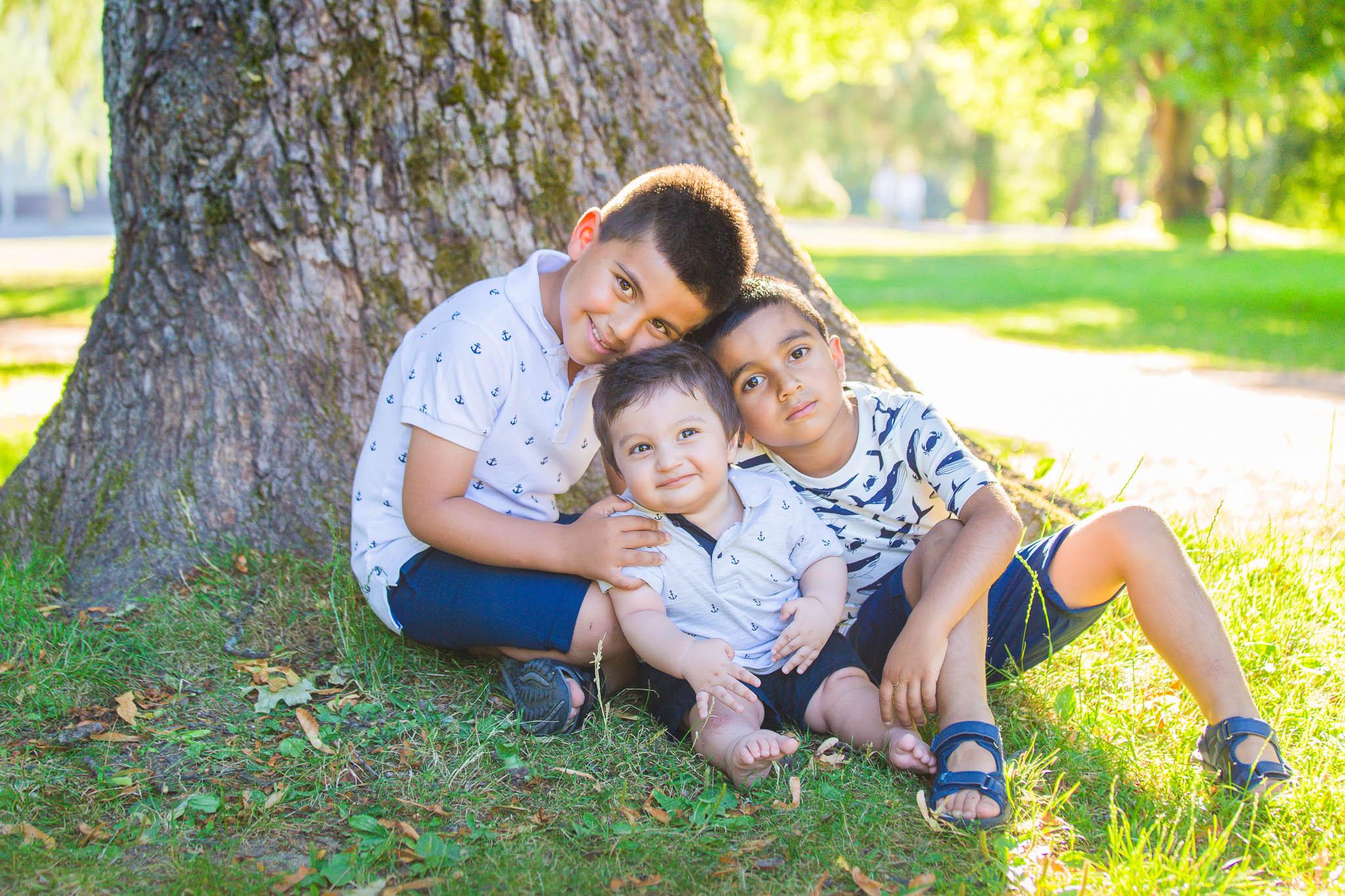 Familiefotografering, tre brødre