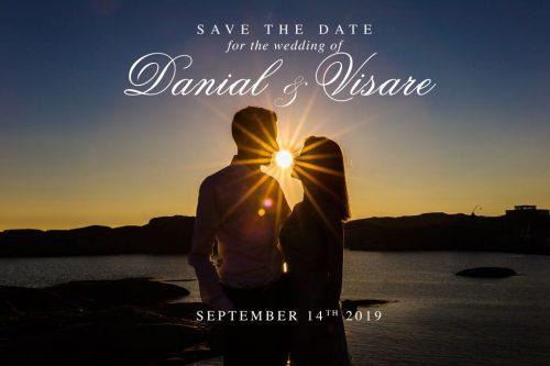"Eksempel på et ""Save the date""-kort, bildet er tatt under en forlovelsesfotografering på Verdens Ende, Tjøme."