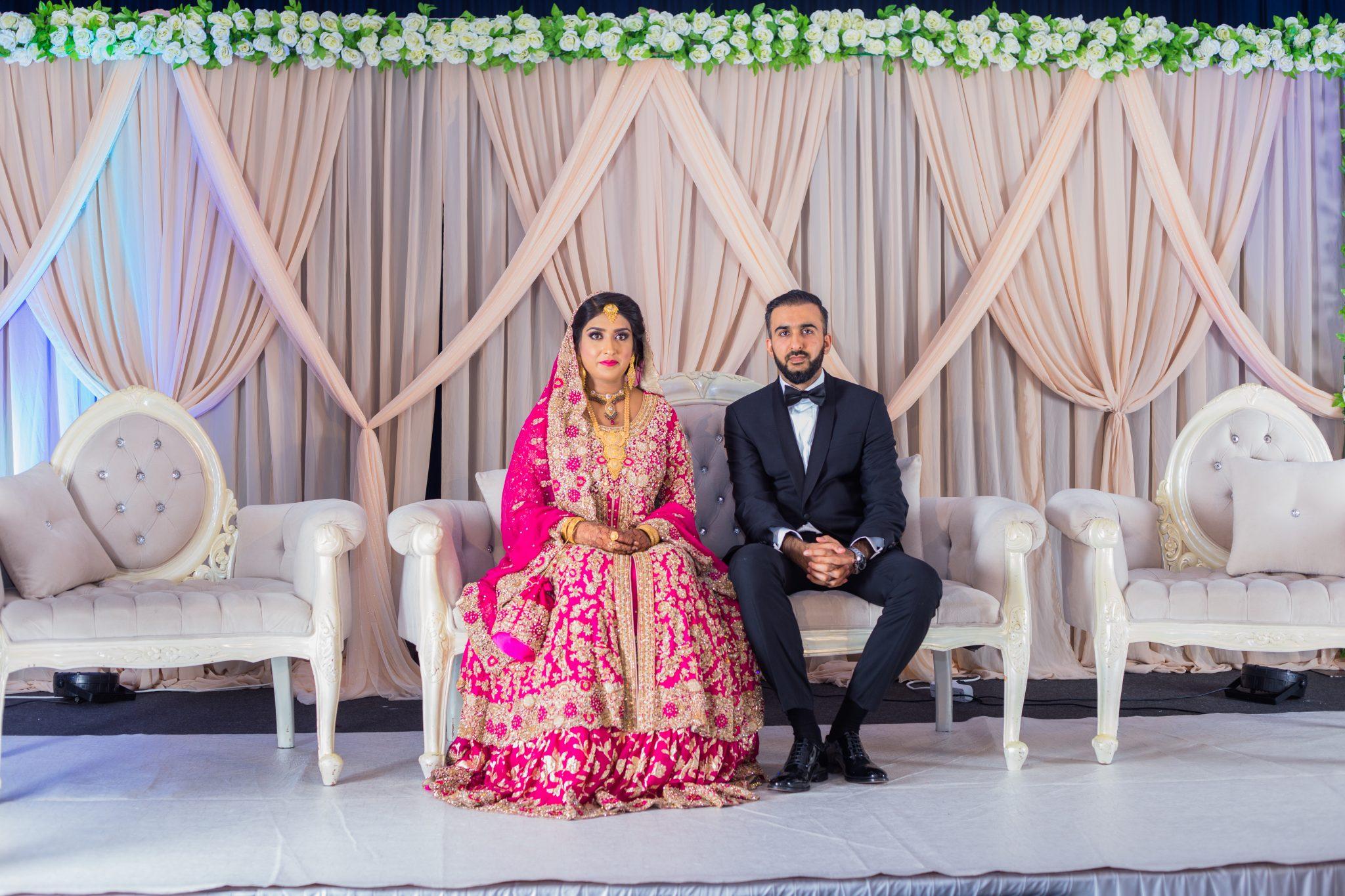 Et pakistansk brudepar på deres Walima
